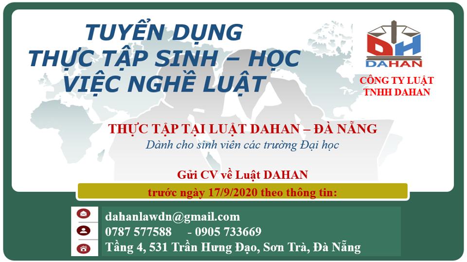 Công ty Luật Dahan tuyển dụng Thực tập sinh ngành luật tại Đà Nẵng 2020